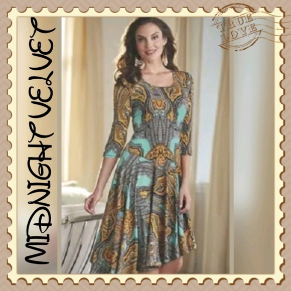 Midnight Velvet Dresses & Skirts - Midnight Velvet Print Dress Summer Dinner Party